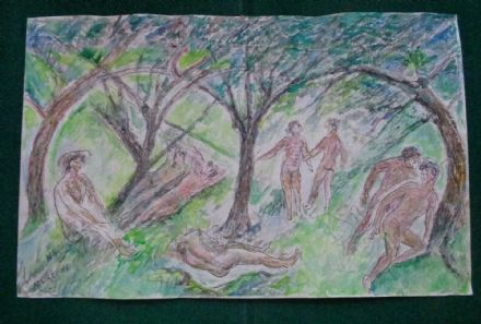 Antique Signed Watercolour Russian Artist Marevna Vorobieff Nude Males Forest